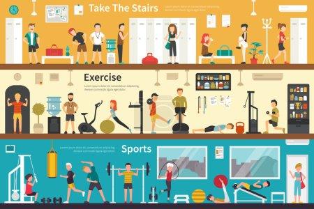 Illustration pour Prendre le web de l'escalier exercice Sports fitness plate concept extérieur intérieur. Carrière graphique Fun - image libre de droit