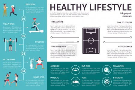 Illustration for Healthy lifestyle infographic flat vector illustration. Editable Presentation Concept - Royalty Free Image