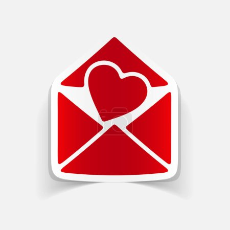 Illustration for Realistic element heart in envelope on white background - Royalty Free Image