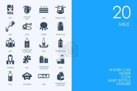 Set of icons on blue background
