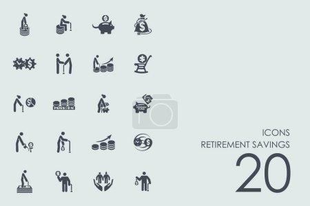 Set icons on grey background
