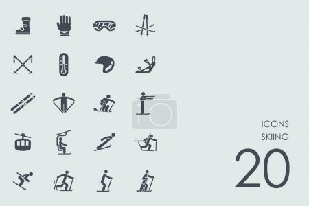 Set of skiing icons