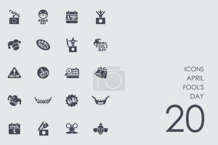 Illustration for Set of april fool's day icons, vector illustration - Royalty Free Image