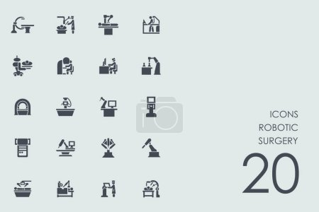 Illustration for Set of robotic surgery icons, vector illustration - Royalty Free Image