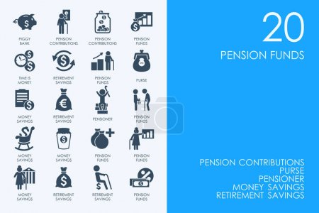 Set of pension funds icons