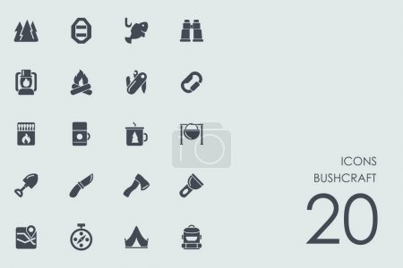 Illustration for Bushcraft vector set of modern simple icons - Royalty Free Image