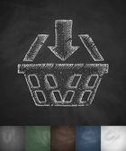 Basket icon Hand drawn vector illustration Chalkboard Design