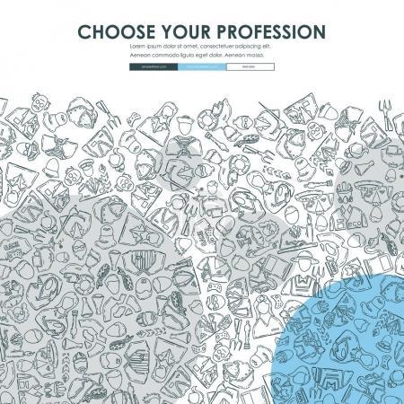 Illustration pour Professions de Website Template Design avec Doodle fond, illustration vectorielle - image libre de droit