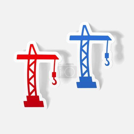 hoisting crane icons set