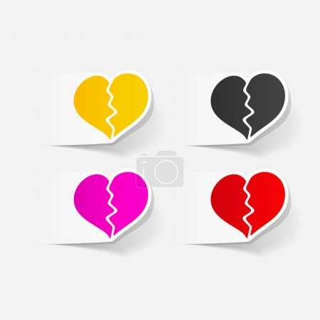Illustration for Realistic design elements: broken hearts icons set - Royalty Free Image