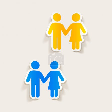 Illustration for Realistic design elements: couple in love icons - Royalty Free Image