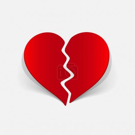 Illustration for It is a realistic design element broken heart - Royalty Free Image