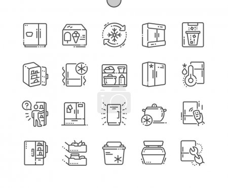 Fridge Well-crafted Pixel Perfect Vector Thin Line Icons 30 2x Grid for Web Graphics and Apps. Simple Minimal Pictogram
