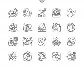 Fruits and Vegetables Well-crafted Pixel Perfect Vector Thin Line Icons 30 2x Grid for Web Graphics and Apps Simple Minimal Pictogram