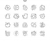 Social media Well-crafted Pixel Perfect Vector Thin Line Icons 30 2x Grid for Web Graphics and Apps Simple Minimal Pictogram