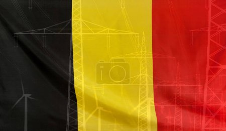 Energy Concept Belgium Flag with power pole