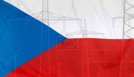 Energy Concept Czech Republic Flag with power pole