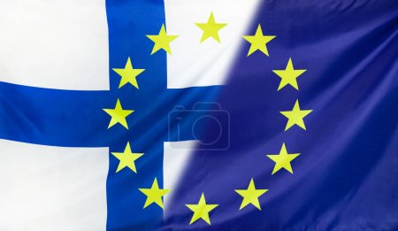 Photo for Finland and European Union relations concept with diagonally merged flag - Royalty Free Image