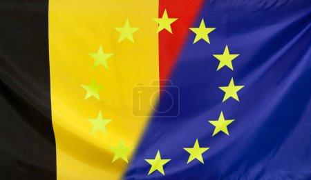 European Flag merged with Belgium Flag
