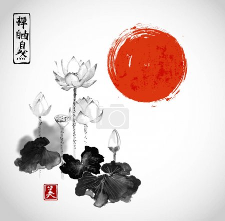 Illustration for Lotus flowers and red sun hand drawn with ink. Contains hieroglyphs - zen, freedom, nature, beauty.Traditional Japanese ink painting sumi-e - Royalty Free Image