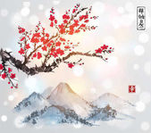 Sakura in blossom and mountains Traditional oriental ink painting sumi-e u-sin go-hua Contains hieroglyphs - zen freedom nature happiness