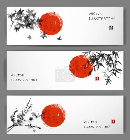 Illustration for Three banners with red sun, maple, bamboo and oriental cherry sakura in blossom. Traditional Japanese ink painting sumi-e on white background. Contains hieroglyph - happiness. - Royalty Free Image