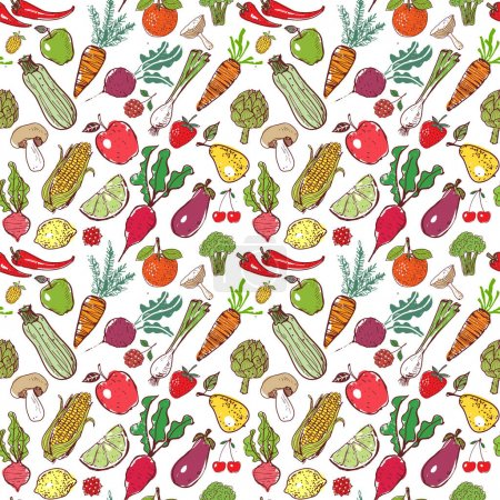 Doodle fruits and vegetables