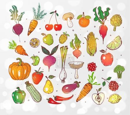 vegetables and fruits seamless pattern