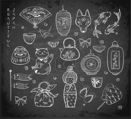 japan objects seamless pattern