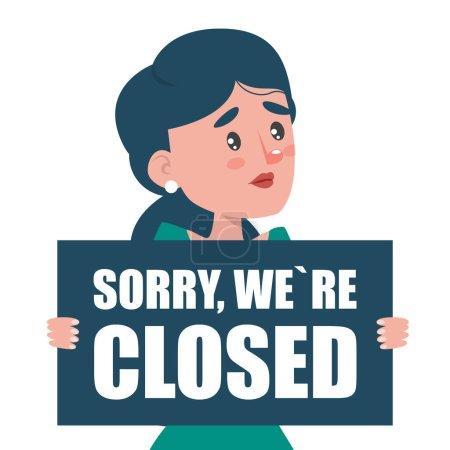 Illustration pour Triste femme tenant un vecteur isolé. Désolé que nous soyons fermés. Marées de fermeture et de crise des entreprises . - image libre de droit