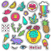 Fashion patch badge elements in cartoon 80s-90s comic style Set modern trend doodle pop art sketch