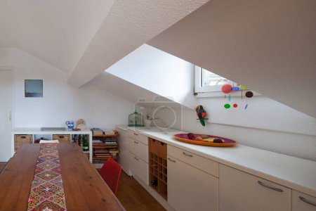 Kitchen, old wooden dining table