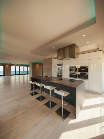 Interiors of a modern apartment, kitchen with sea view