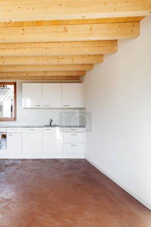 comfortable empty loft, interior, domestic kitchen