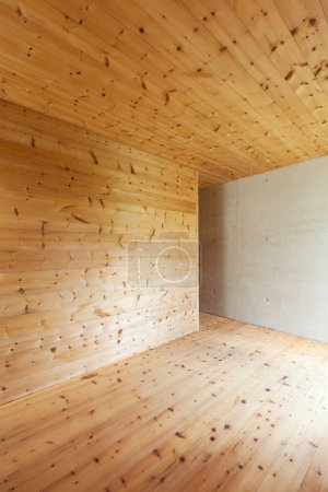 new apartment, interior with wooden walls