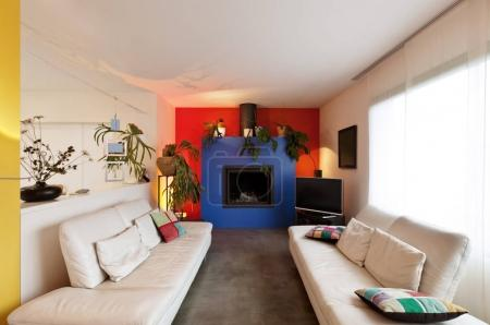 Photo for Comfortable modern apartment,  living room with fireplace - Royalty Free Image
