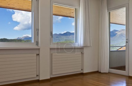 Photo for Interior house, empty room, window with white curtains - Royalty Free Image