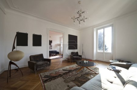 Photo pour Vintage appartement meublé, salon - image libre de droit