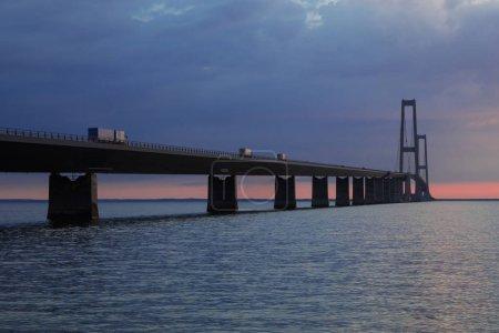 Storeb��ltsbroen bridge during sunset