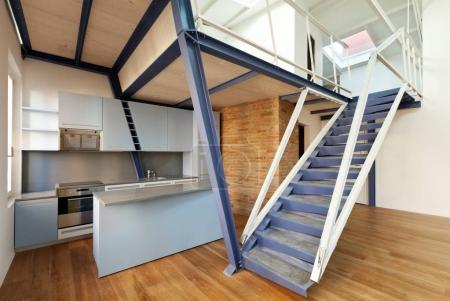 Photo for Modern designer, apartment with mezzanine - Royalty Free Image