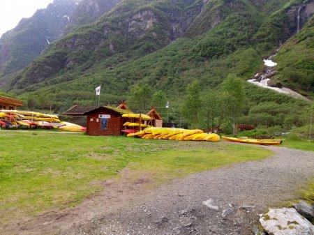 Yellow kayaks parking on lake side
