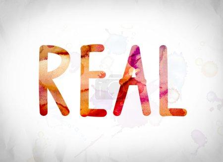 """Photo pour Le mot """"réel"""" écrit en aquarelle se lave sur un concept de fond de papier blanc et le thème . - image libre de droit"""