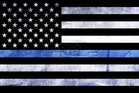 Photo pour Une police et support application drapeau fond avec un fond grunge texturé et mince ligne bleue. - image libre de droit