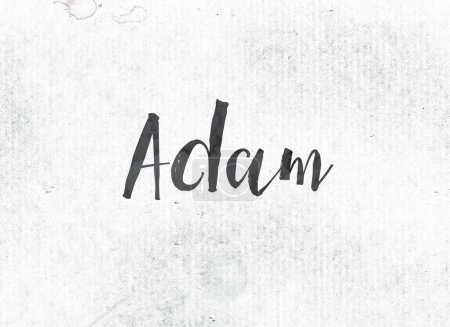Photo for The name ADAM concept and theme painted in black ink on a watercolor wash background. - Royalty Free Image