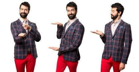 Set of Well dressed man holding something