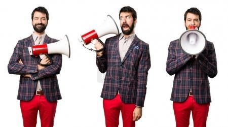 Set of Well dressed man holding a megaphone