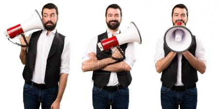Set of Cool man holding a megaphone