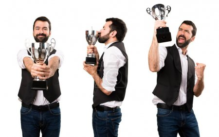 Set of Cool man holding a trophy