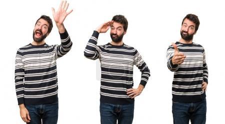 Photo pour Jeu de l'homme avec barbe saluant - image libre de droit