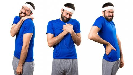 Set of Funny sportsman with heart pain, back pain and shoulder pain